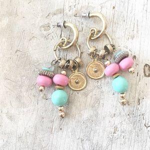 Spring Pink Blue Dangle Pastel Earrings